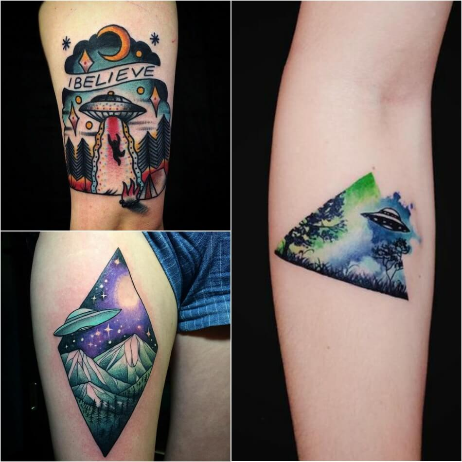 space tattoo - ufo tattoos - planet tattoo