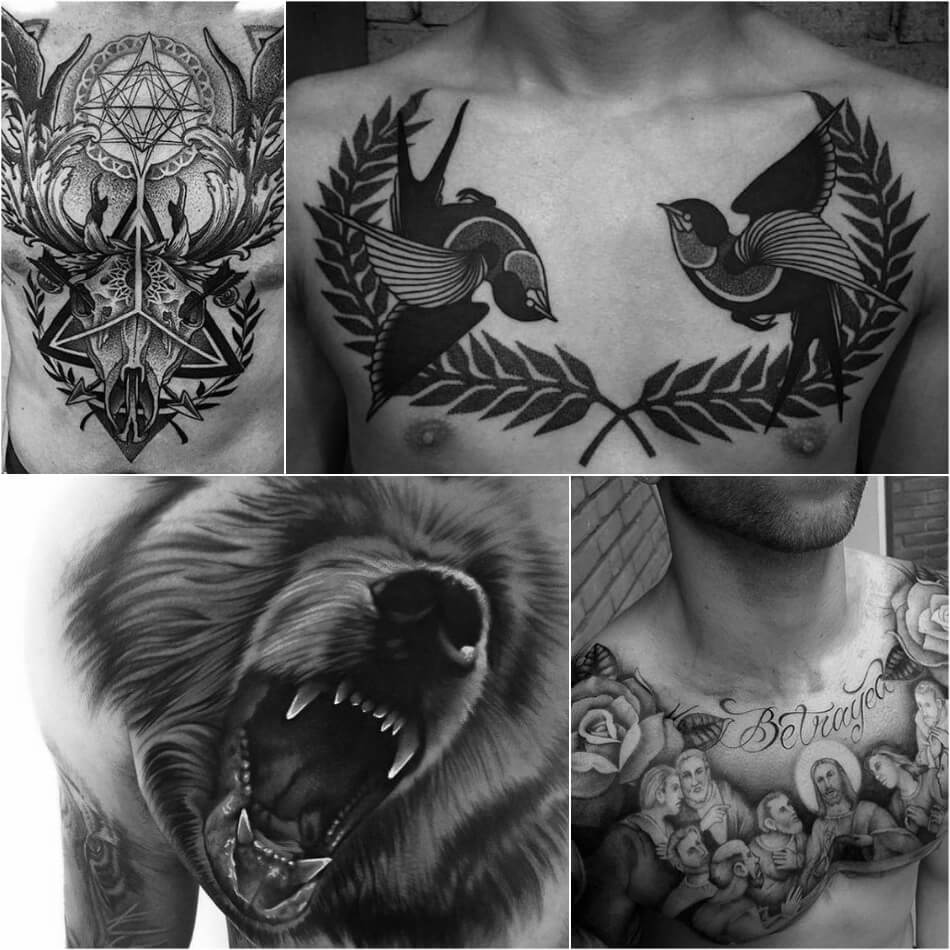chest tattoos for men - chest tattoo ideas - black and grey chest tattoo