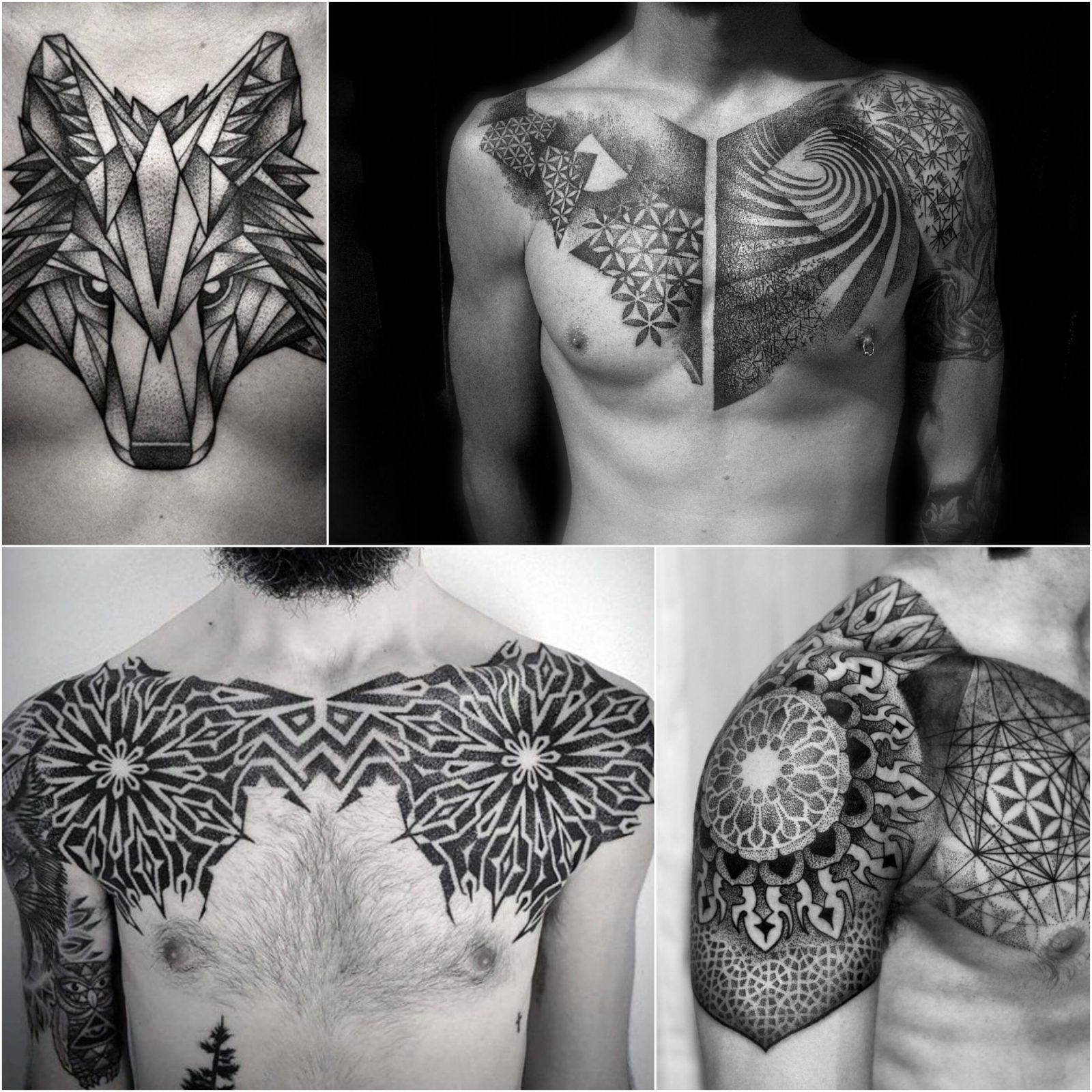 chest tattoos for men - geometric chest tattoo - black and grey chest tattoo