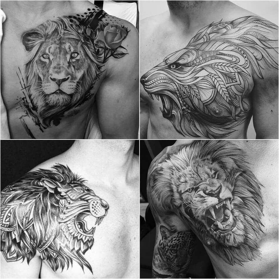 chest tattoos for men - half chest tattoo - lion chest tattoo