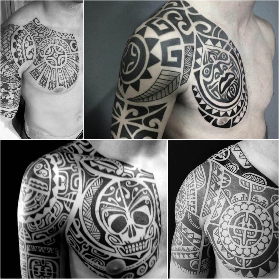 chest tattoos for men - tribal chest tattoos - half chest tattoo