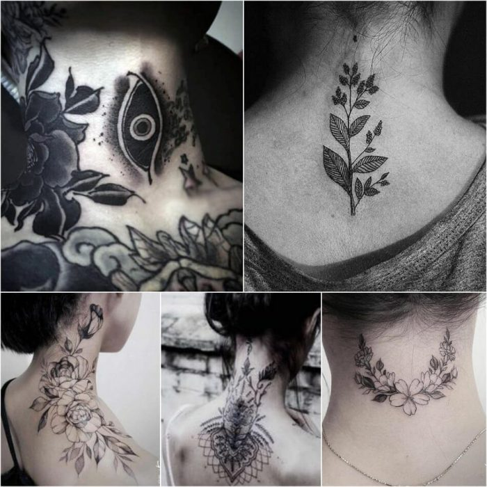 neck tattoo - neck tattoo for women - neck tattoo ideas