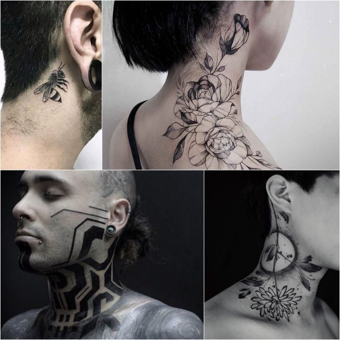 neck tattoo - side neck tattoos - tattoo on neck for girl