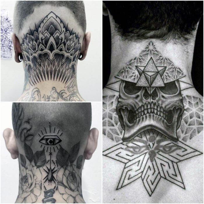 neck tattoos - neck tattoos for men - back neck tattoo for guys