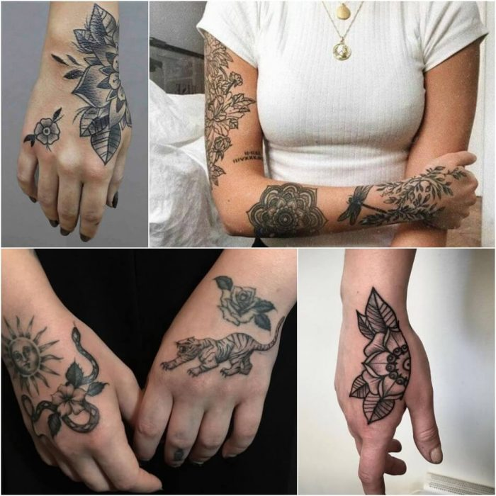 female hand tattoos - hand tattoos for girls - black and grey hand tattoo