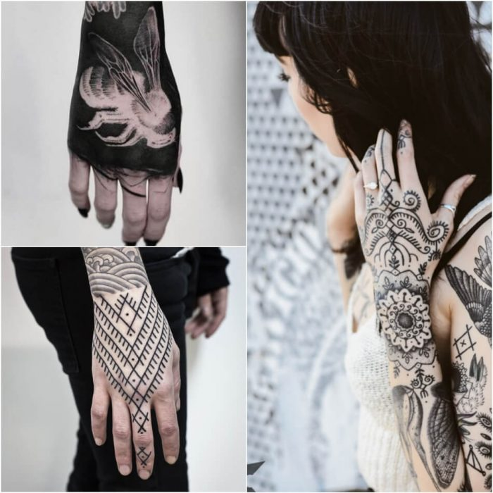 female hand tattoos - hand tattoos for girls - black hand tattoos