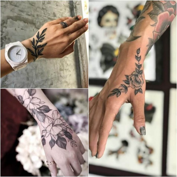 female hand tattoos - hand tattoos for girls - flower hand tattoos