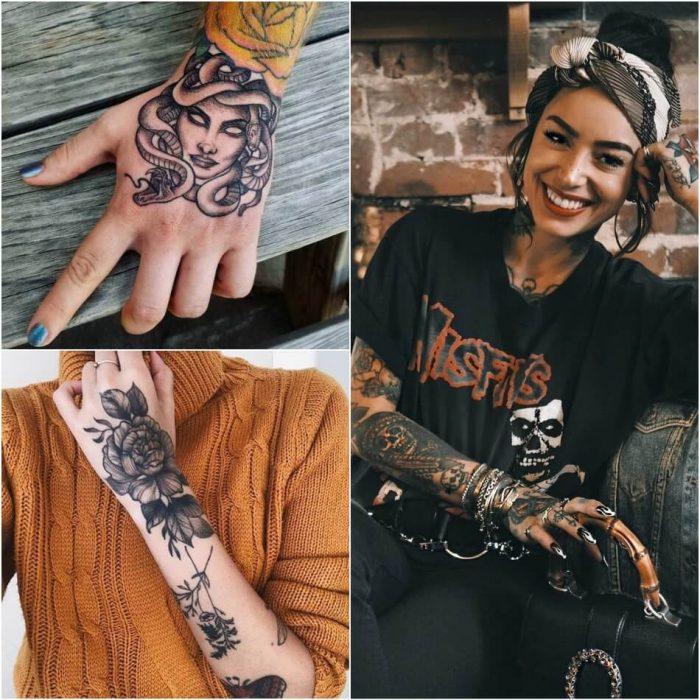 female hand tattoos - hand tattoos for girls - pretty hand tattoos