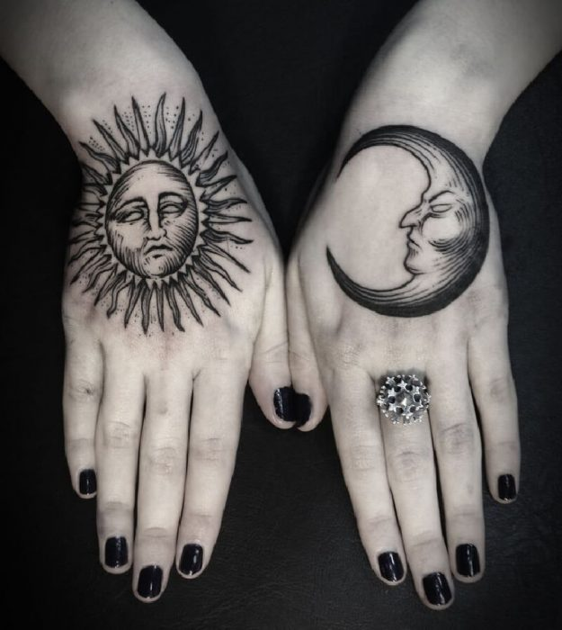 female hand tattoos - hand tattoos for girls - sun and moon hand tattoo