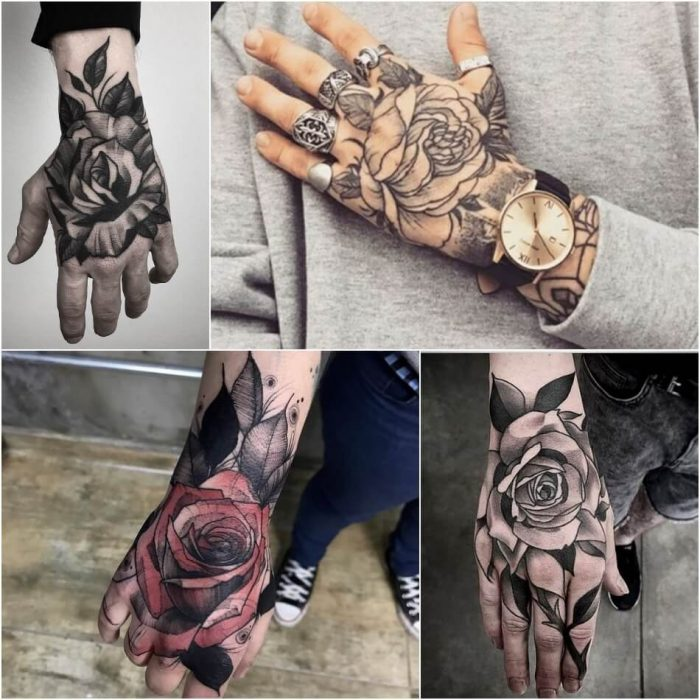 hand tattoos for men - hand tattoos - rose hand tattoo ideas