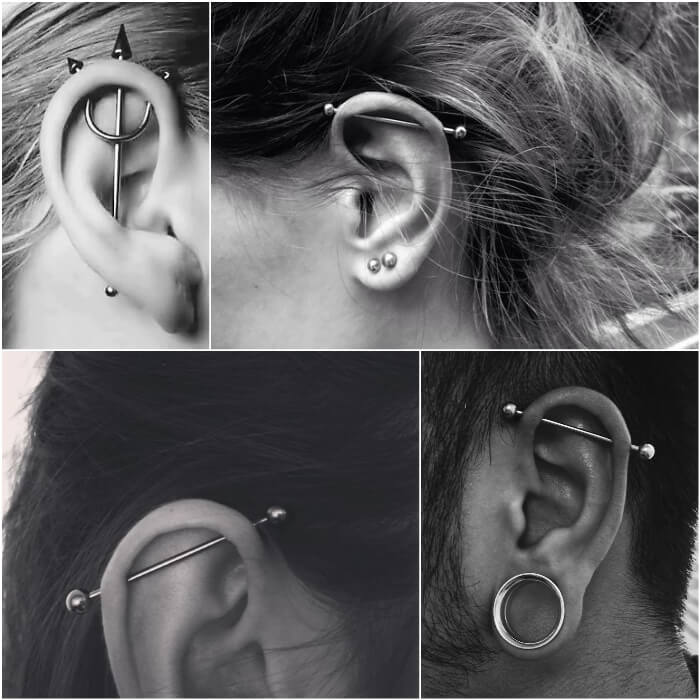 industrial piercing - ear piercings - earrings