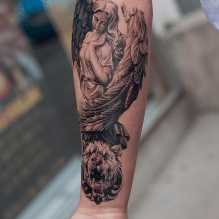 angel tattoos - angel tattoo ideas - angel forearm tattoos