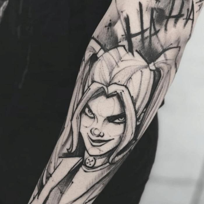 Harley Quinn Tattoos Meaning - Harley Quinn Rotten Tattoo - Harley Quinn Black and White Tattoos