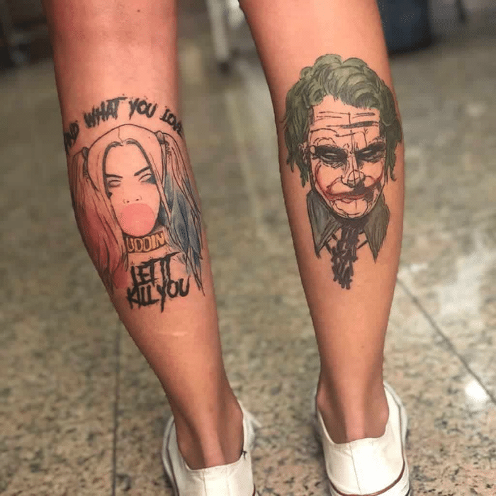 Harley Quinn Tattoos Meaning - Harley Quinn Tattoo Placement - Harley Quinn Tattoo on Leg