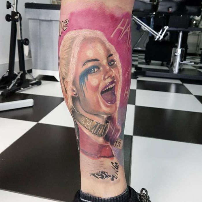 Leg Harley Quinn Tattoos Ideas - Harley Quinn Rotten Tattoo - Leg Tattoos